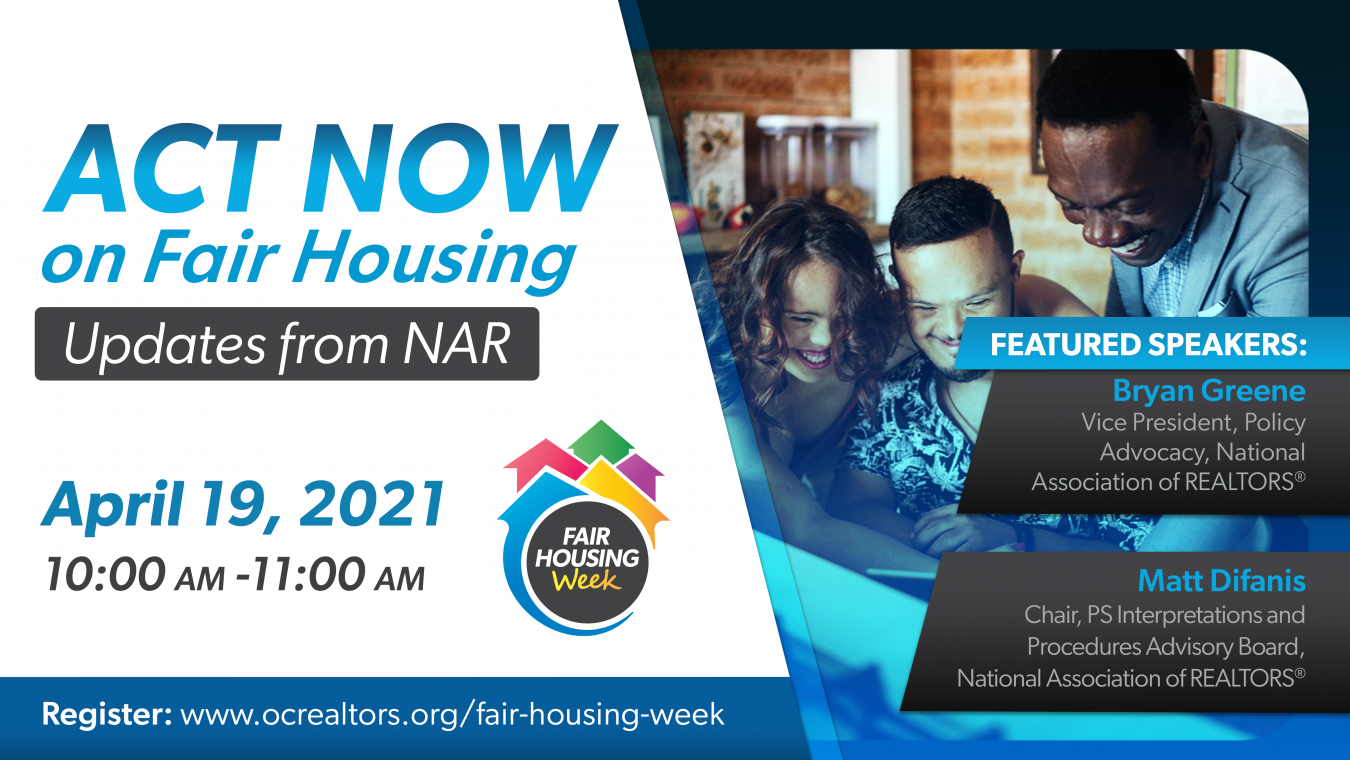 Act Now on Fair Housing Updates from NAR, April 19 10-11am
